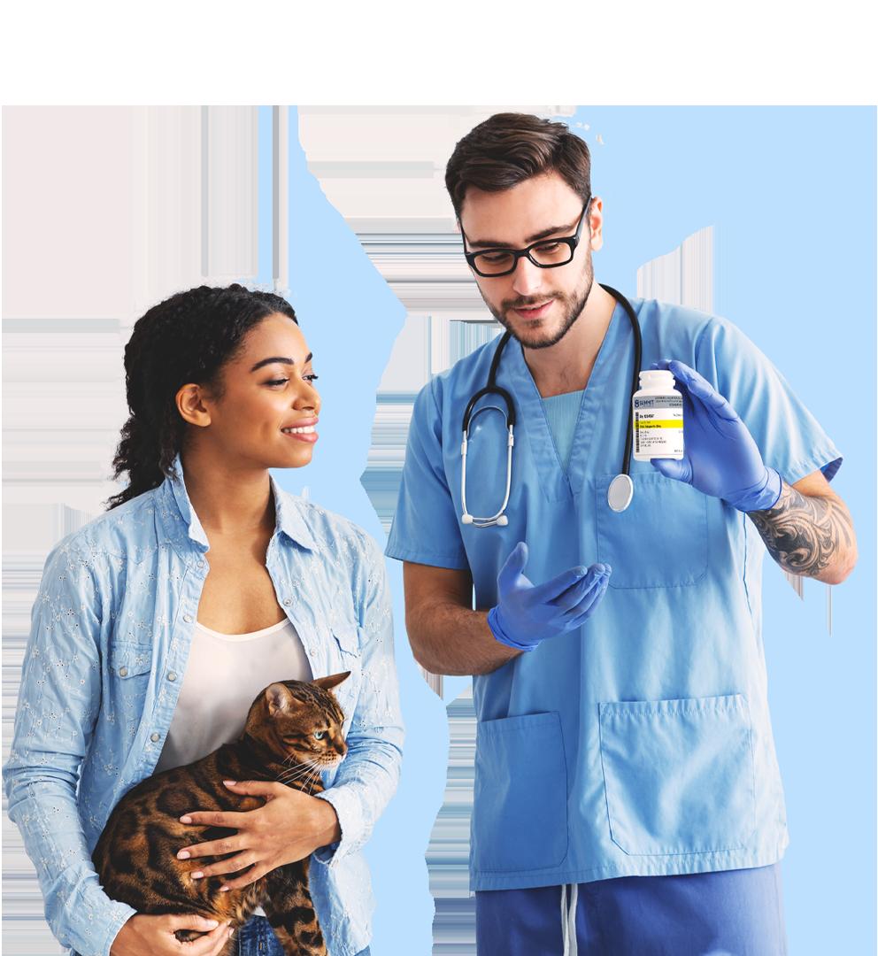 Vet Explaining Medicine to Patient